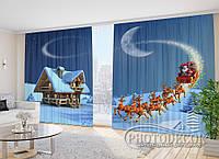 """Фото Шторы в зал """"Дед Мороз на санях"""" 2,7м*2,9м (2 половинки по 1,45м), тесьма"""