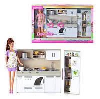 Кукла DEFA кухня, продукты, посуда, 2 вида, свет, в кор-ке, 50-32-9см