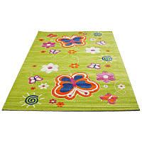 Зеленый коврик с бабочками 80*150 см, фото 1