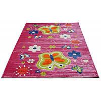 Розовый ковер с бабочками 80*150 см