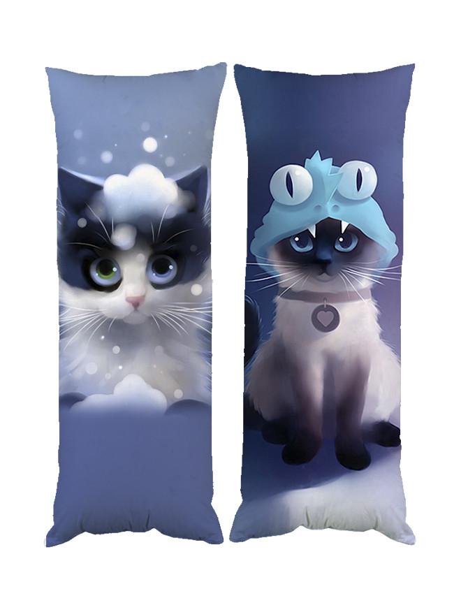 Подушка кот дакимакура двухсторонняя 40х100 см со съемной наволочкой (dak0237)