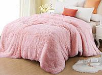 Меховое покрывало- одеяло евро размера  с длинным ворсом. Розовое
