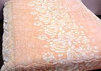 Одеяло-покрывало меховое евро размера  с цветочним принтом. Розовое, фото 1