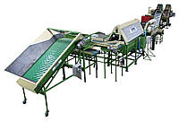 Линия оборудования для мойки, полировки, сухой чистки, сортировки, калибровки, фасовки овощей, картофеля, лука