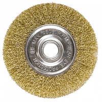 Щетка для УШМ, 125 мм, посадка 22,2 мм, плоская, латунированная витая проволока // MTX
