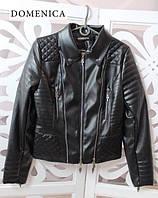 Кожаная женская куртка в черном цвете (в разных размерах) w-31KU102