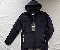 Куртка демисезонная с трикотажным капюшоном для мальчика 10-15лет,темно синяя