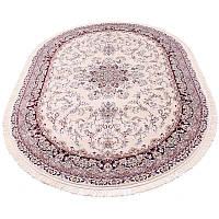 Овальный ковер в классическом дизайне (айвори/бордовый) 80*150 см.