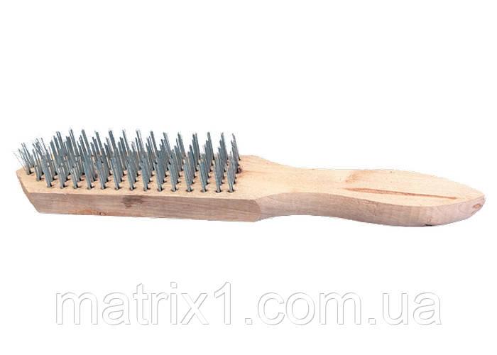 Щетка 4-рядная металлическая с деревянной ручкой// SPARTA