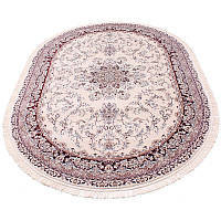Овальный ковер в классическом дизайне (айвори/бордовый) 150*230 см.