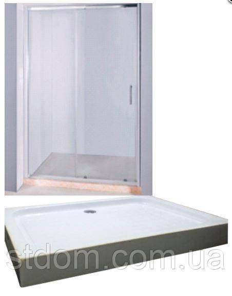 Дверь в нишу 120*185 см Keramac TA-01 + Поддон 120*80 см Keramac 8123