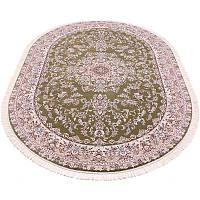 Овальный коврик в классическом дизайне (оливковый) 100*200 см.