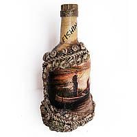 """Подарок рыбаку Декор бутылки """"Рыбалка на закате"""". Рыбацкие сувениры ручной работы"""