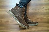 Мужские кожаные зимние ботинки Accord коричневые 10457