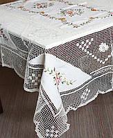 """Льняная скатерть """"Цветочна поляна"""" тонкая вязка на большой стол"""