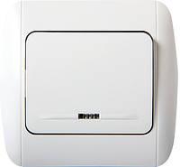 Выключатель e.install.stand.811L+f.cer одноклавишный с подсветкой с рамкой