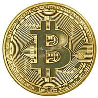 Биткоин сувенирная монета позолота