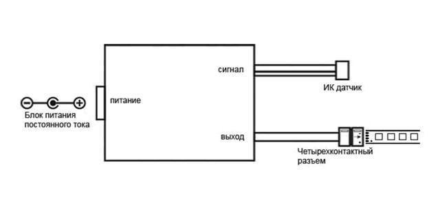 схема подключения контроллера для светодиодных лент