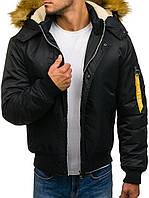 Мужская зимняя  куртка Бомбер с капюшоном на меху