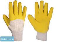 Перчатки стекольщика, х/б ткань с латексным ребристым покрытием(желтые) 10,5 83-0601
