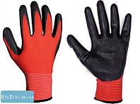Перчатки трикотажные бесшовные с нитриловым покрытием ладони (красно-черные) 10,5 83-0401