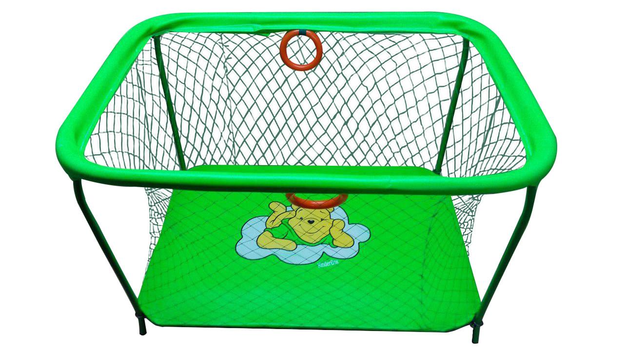Манеж детский игровой KinderBox люкс Салатовый мишка  с крупной сеткой (km552)