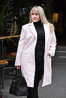 Женское демисезонное пальто. Нежно-розовое, 7 цветов. Р-Р: от S до XXXL.