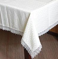 Скатерть размера 130*160 см  с кружевом по краю на кухонный стол