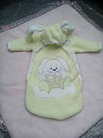 Оливковый конверт для новорожденного Зайка