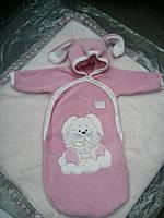 Розовый конверт для новорожденного Зайка