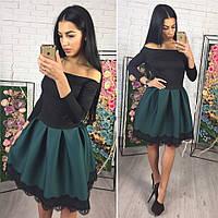 Платье с открытыми плечами и расклешенной юбкой m-40PL2139