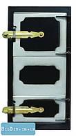 Дверка спаренная топочная + поддувальная черн. мет. 92-0369