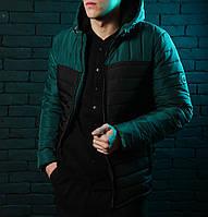 Стильная куртка,парка мужская Победов - Pobedov Double Colour Spring Jacket(Black - Green)