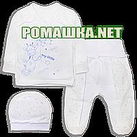 Костюмчик (комплект) на выписку р.56 для новорожденного демисезонный ткань ИНТЕРЛОК 100% хлопок 3751 Голубой
