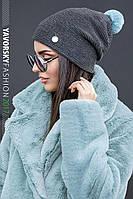 Женская супер стильная шапка с меховым бубончиком, в расцветках