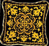 """Набор для вышивки подушки №333 """"Узоры на черном"""""""