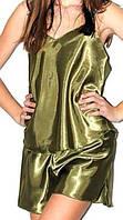 Пижама атласная оливковая, фото 1