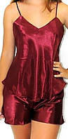 Пижама атласная бордовая, фото 1