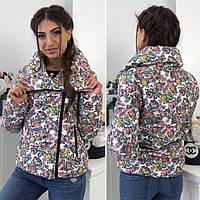 Женская короткая куртка косуха в цветы