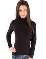 Гольф черный женский с горлом стойка длинный рукав без рисунка хлопок стрейч трикотажный (Украина)