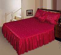"""Покрывало """"Романс"""" на двуспальную кровать с подушкой-сердечко. Цвет - бордовый"""