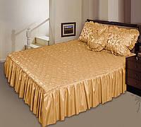 """Покрывало """"Романс"""" на двуспальную кровать с подушкой-сердечко. Кремовый"""