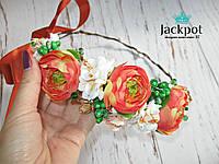 Стильний дизайнерський вінок на голову квіти хрусталь ручна робота