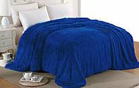 Меховое одеяло евро размера с длинным ворсом. Цвет синий, фото 1