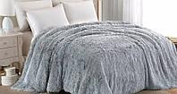 Меховое одеяло - накидка на кровать, евро размера  с длинным ворсом. Цвет - Серый