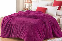 Одеяло евро размера меховое с длинным ворсом. Цвет - сливовый.
