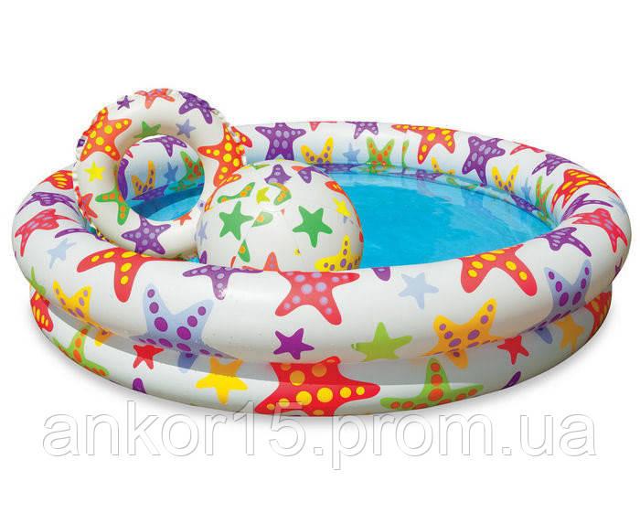 Детский надувной бассейн с кругом и мячом Intex 59460 (122-25 см)