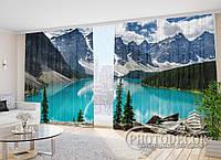 "Фото Шторы в зал ""Озеро в горах"" 2,7м*2,9м (2 половинки по 1,45м), тесьма"
