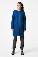 Синее классическое пальто прямого силуэта RicaMare