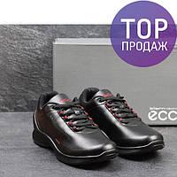 Мужские кроссовки Ecco Biom, черные с красным / кроссовки мужские Экко Биом, кожаные, стильные